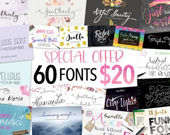 Script Font bundle - 60 Calligraphy fonts including hand lettered fonts. Digital fonts which can be used for photography logo designs