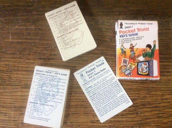 According To Professor Hoyle pocket trivia card game for kids series 7, vintage games, vintage learning games, travel games, 1984 game