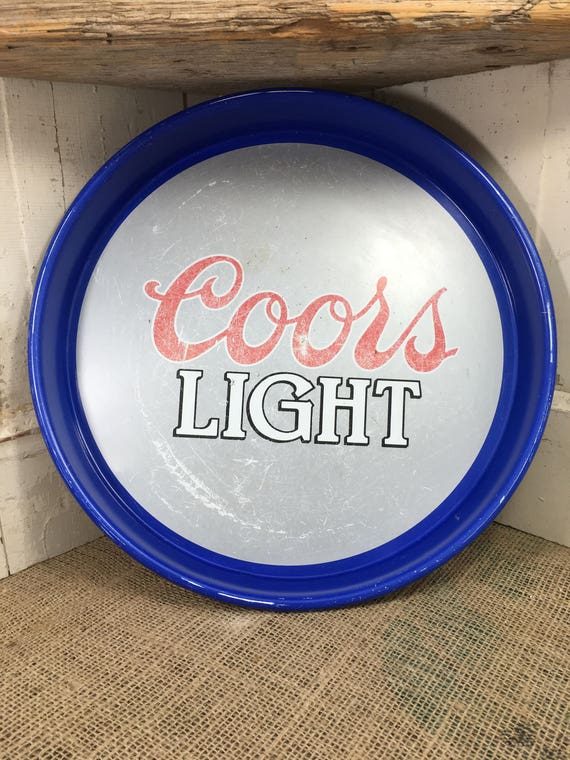 Vintage from 1983 Coors Light beer tray, super cool silver bullet vintage beer serving tray, man cave, beer collector, Coors light decor