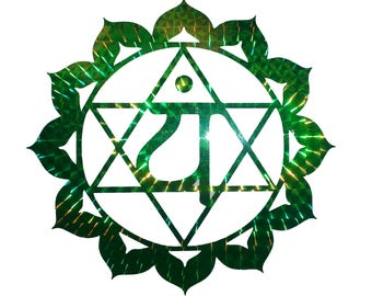 Heart Chakra Rainbow Mosaic Green Holographic