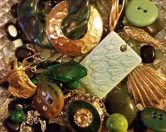Vintage Green and Gold Mix Baubles Jewelry Destash Inspiration Upcycle Mix Lot