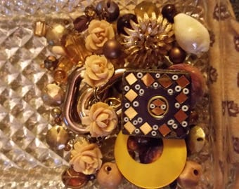 Vintage Brown Cream and Gold Mix Baubles Jewelry Destash Inspiration Upcycle Mix Lot