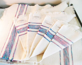 Blue Pink Woven Placemats Stripes Oversized HIGH END Linens - 6 placemats included
