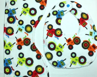 Baby Bib & Burp Cloth Set - Tractors