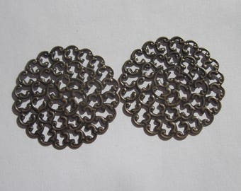 2 large round openwork bronze 36 mm-(66 prints