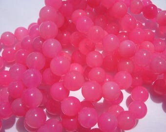 """4 """"pink colored agate"""" beads 10 mm (7-9)"""