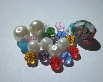29 round and oval glass beads multicolor (PV58-8)