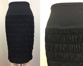 Vintage 80s 90s MISSONI Black Smocked Cotton Jersey Body Con Bandage Skirt S/M