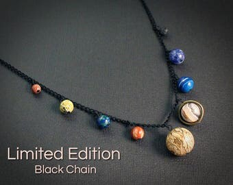 Gemstone Solar System Necklace - Limited Edition Black Chain