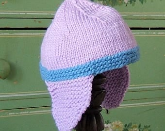 Baby Hat, Hand Knit Wool Cap, Baby Girl Hat, Lavender and Blue Wool  Earflap Hat