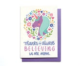 Mothers Day Card - Unicorn Mom Birthday Card - Mom Thank You Card - Hennel Paper Co. MD35
