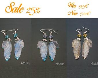 Fairy wing earrings. Fairy earrings. Fantasy jewelry. Glitter jewelry. Available in six colours