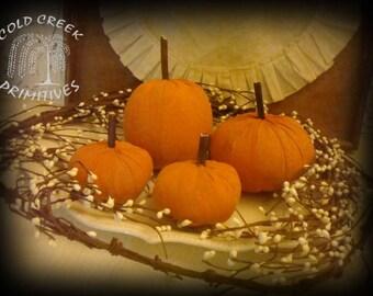 Primitive Pumpkins Set of 4 Various Sizes
