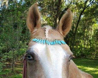 Turquoise and Rhinestone Browband for Horse, Pony or Mini in Gold Finish - Equine Bling Tack Jewelry - Gift for Horse Lover