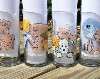 Vintage 1982 E.T. Extra Terrestrial Tumblers Drinking Glasses Set of 4