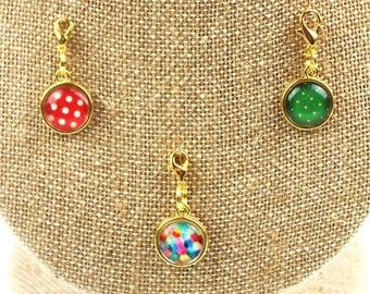Planner Charm - Dots and Hexagon Patterned Planner Jewelry, Accessories