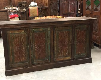 Antique Floral Carved Chest Red Green Chakra Sideboards Chest Console Buffet Storage Cabinet