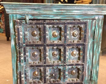 Antique Tourquise Distressed Rustic Boxes Chest Patina Furniture TV Console Cabinets, Luxury Design