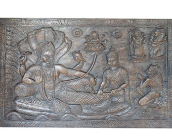 Vintage Wall Sculpture Hand carved Vishnu on Sheshnag, blessing with success, prosperity, wisdom, YOGA,ZEN,CONSCIOUS Living