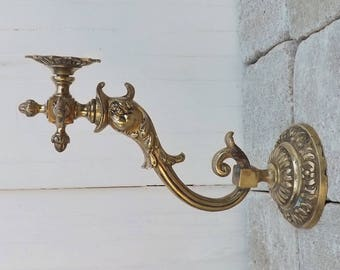 Brass dolphin wall sconce original fish sconce mythical koi sconce neoclassical home decor