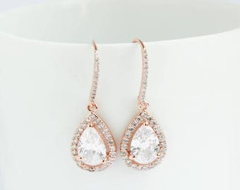 Bridal Earrings, Rose Gold Earrings, Rose Gold Drop Earrings, Rose Gold Dangle Earrings, Rose Gold earrings, Bridal