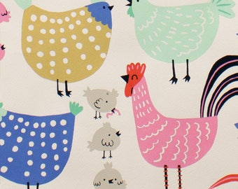 In Stock! Cluck Cluck Chicken Alexander Henry Fabric in natural