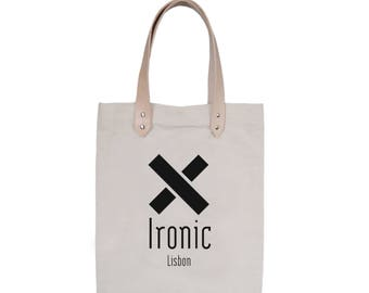 Tote Bag With leather straps - Screenprint Over Cotton Canvas Tote Bag Ironic