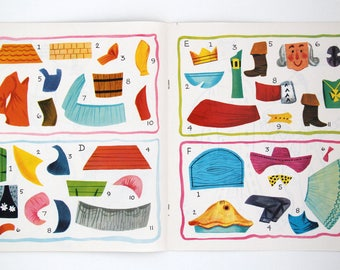 Vintage push-out, stick and colour kids craft book 'Mother Goose' nursery rhymes, by W.D.L, 1966