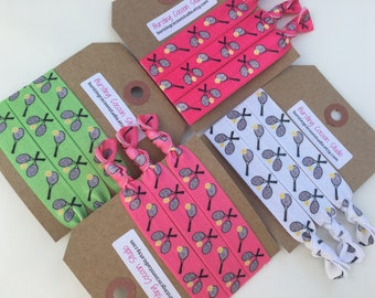 Tennis hair ties, white, pink, or green racquet and tennis ball hair ties, FOE, foldover elastic, ponytail holders, sports, girls gift