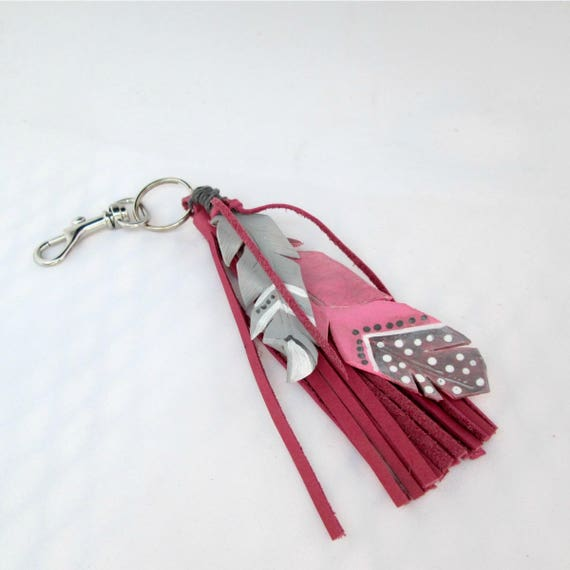 Leather Feather Key Chain in Pink and Grey