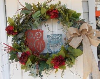 extra lg wreath , door wreath , owl metal art burlap hydrangea garden art home decor grapevine wreath back door  front door  , back door