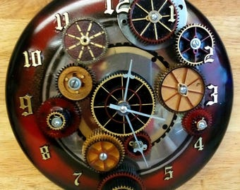 Re-purposed Gears Steampunk Wall Clock- Handmade - Industrial - Machine Age