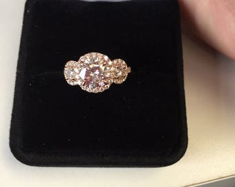 Three Stone Diamond Halo Engagement Ring with 7.5mm Round Forever One Moissanite & two 3.5mm Round Forever One Moissanites, 14kt Rose Gold