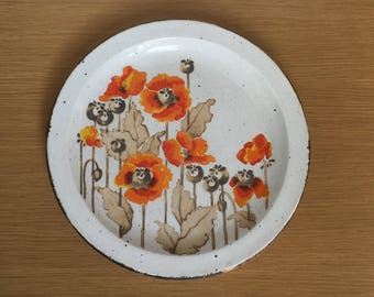 """Midwinter Stonehenge Autumn Dinner Plate 10.5"""" with Poppies"""