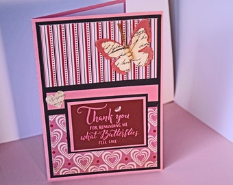 Valentine's Day Greeting Card, Handmade Hearts and Butterfly in Pink and Red