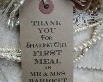 100 Wedding Napkin Ties-Wedding Table Decor Tags Personalised Thank You for Sharing Our First Meal-Set of 100 Wedding Favors