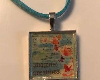 Square silver pendant with unique pictures
