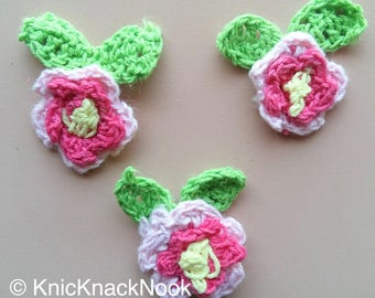 Pink, Fuchsia, Yellow And Green Crochet Flower And Leaves Appliqué x 3 - 200317A115F