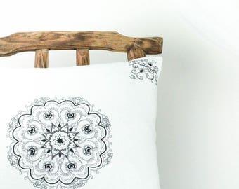 Mandala pillow, white boho pillow, black and white pillow, white linen pillow, bohemian pillow, white accent pillow, white decorative pillow