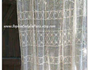 Vintage French Net Curtain Wide Panel Cotton made off White Filet lace panel #sophieladydeparis
