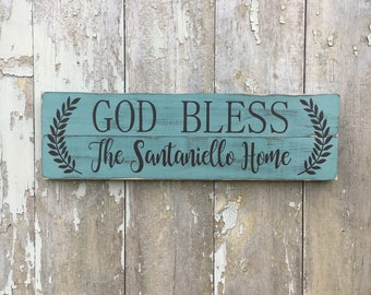"""Customizable Rustic Hand Painted """"God Bless Our Home"""" Sign 