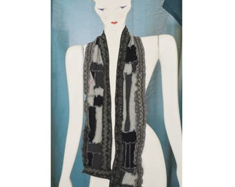 Upcycled Cashmere and Wool Patchwork Scarf Recycled Black and Grey