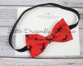 Red and black moose bow {bow headband, red bow headband, moose headband, fancy headband, baby headband, Christmas headband}