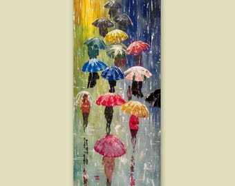 Huge Original Abstract Painting Acrylic-Rainy Night With Umbrellas 2- Forest Rain Landscape-Colorful Abstract Palette Knife -Made to order