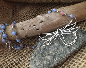 Sterling Silver Drangonfly Beaded Necklace