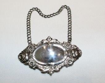 Vintage Sterlin Silver Decanter/Spirit/Wine Label