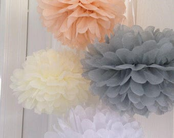 20pcs Mixed Size Tissue Paper Pom Pom • Bridal Shower Baby Shower Wedding Nursery Bachelorette Party Tea Party 30th Birthday Decorations