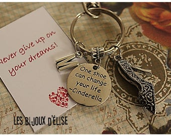 Never Give Up on Your Dreams High Heels Keychain Personalized Motivational Keychain One Shoe Can Change Your Life