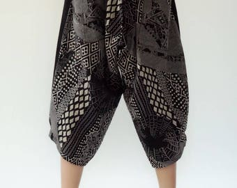 KD0037 Samurai Pants Black and White pants Handmade pants, Thick Smock Waist Low Crotch, elastic waistband  - Fits all !