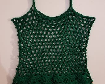 Green Crochet Fishnet Tank Top